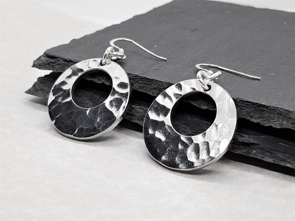 Pewter Hammered Offset Washer Earrings