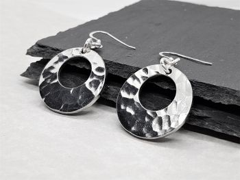 Earrings - Pewter - Hammered Offset Washer