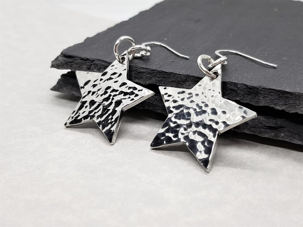 Pewter Hammered Star Earrings