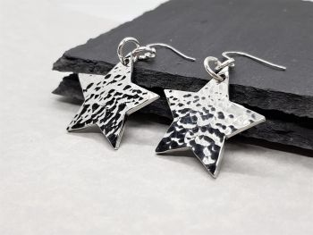 Earrings - Pewter - Hammered Star