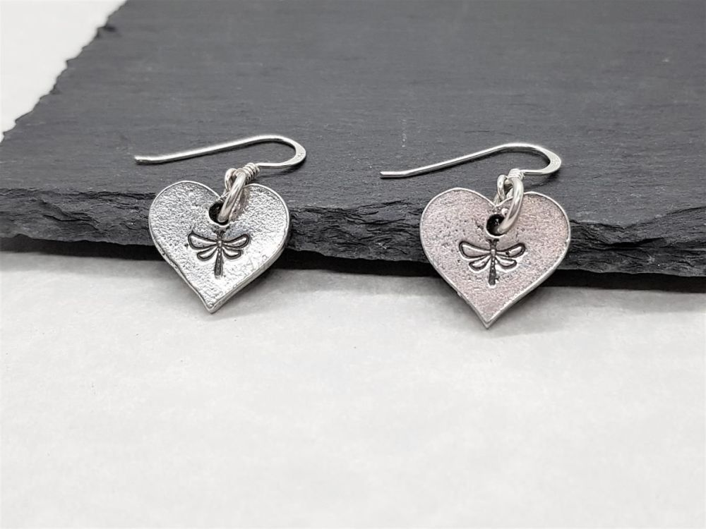 Pewter Heart Earrings with Dragonfly