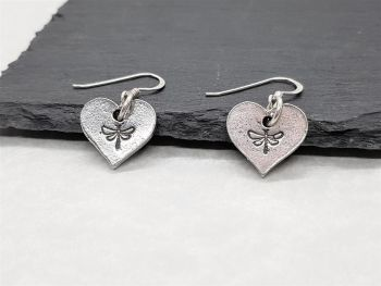 Earrings - Pewter - Hearts with Dragonfly