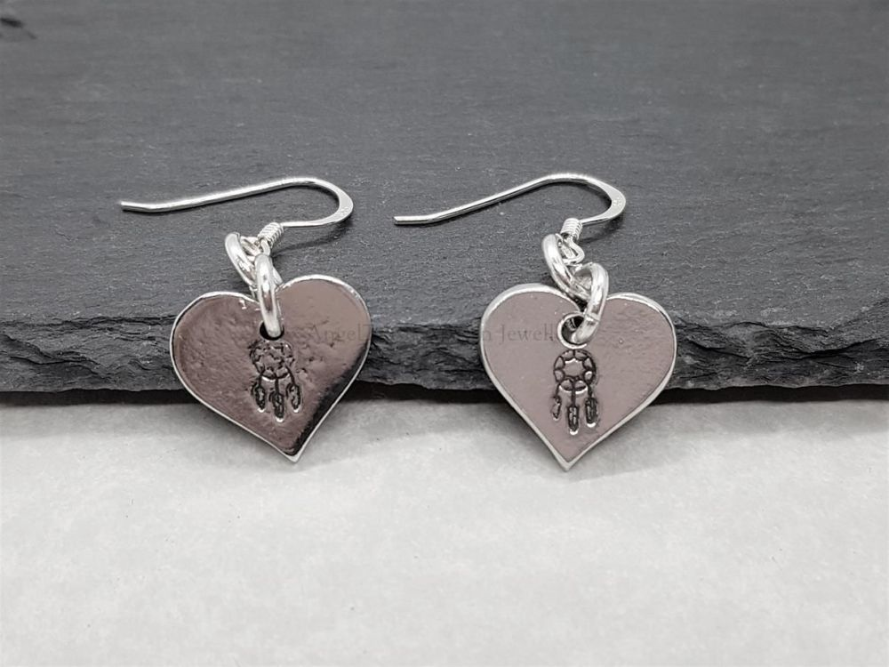 Pewter Heart Earrings with Dreamcatcher