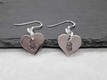Earrings - Pewter - Hearts with Dreamcatcher