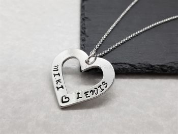 Necklace - Pewter - Heart Washer - Personalised with 2 Names