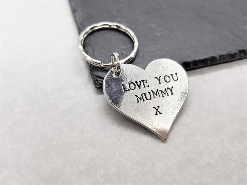 Pewter Large Heart Keyring - Love You Mummy