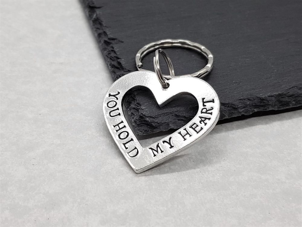 Pewter Open Heart Keyring - You Hold My Heart