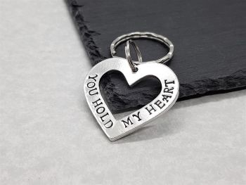 Keyring - Pewter - Open Heart - You Hold My Heart