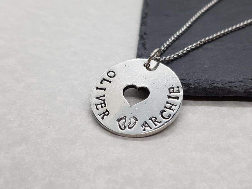 Pewter Personalised Disc With Heart Pendant