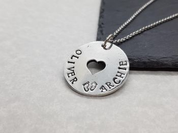 Necklace - Pewter - Personalised Disc With Heart Pendant