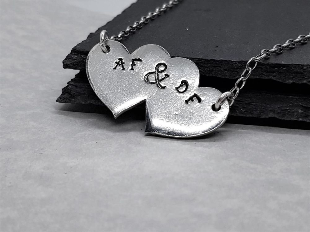 Pewter Personalised Double Heart Pendant
