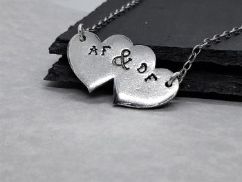 Necklace - Pewter - Personalised Double Heart Pendant