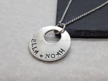 Necklace - Pewter - Personalised Offset Washer Pendant