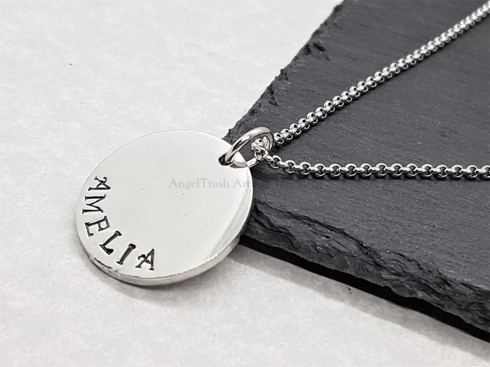 Pewter Personalised Small Disc Pendant