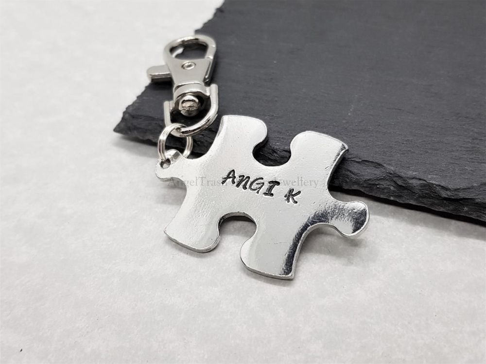 Pewter Puzzle Piece Keyring