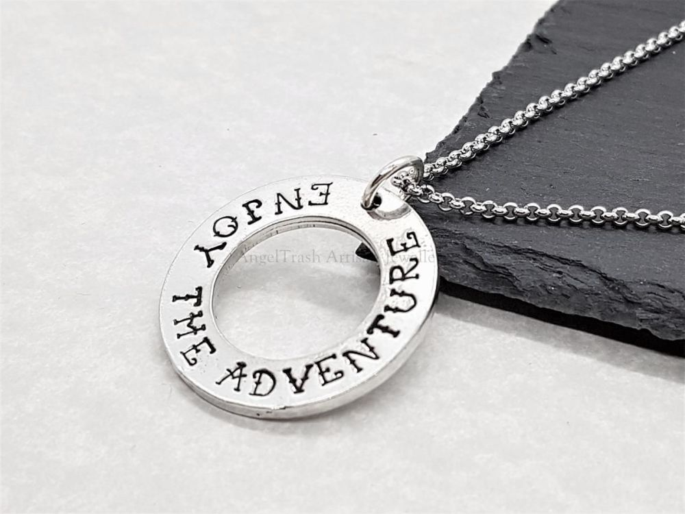Pewter Washer Pendant - Enjoy The Adventure