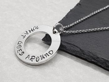 Necklace - Pewter - Washer Pendant - What Goes Around Comes Around