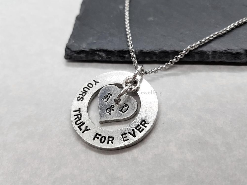 Pewter Washer with Personalised Floating Heart