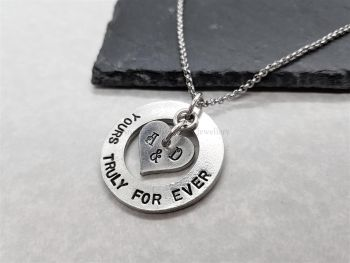 Necklace - Pewter - Washer with Personalised Floating Heart