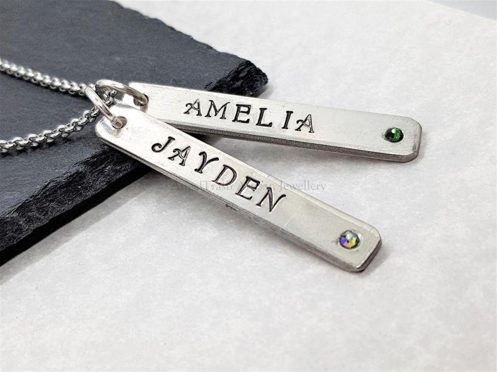 Pewter Personalised Slim Double Droppers Pendant