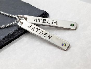 Necklace - Pewter - Personalised Slim Double Droppers Pendant