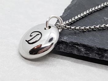 Necklace - Pewter - Pebble Pendant with Decorative Letter