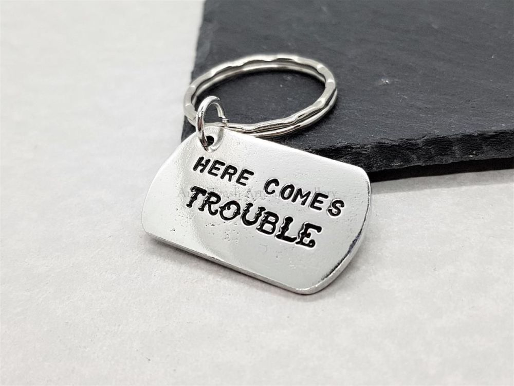 Pewter Small Dog Tag - Hear Comes Trouble