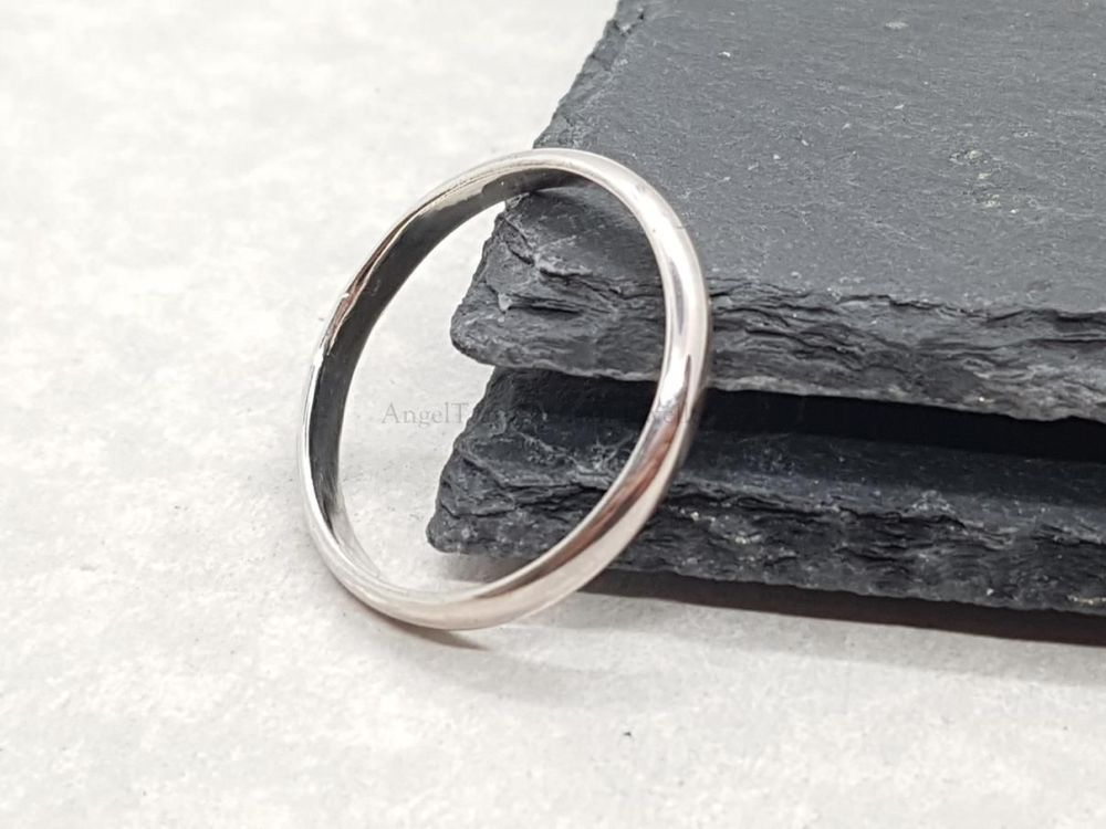 Sterling Silver Ring - Slim 'D' Shape Court Ring