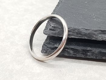 Ring - Sterling Silver - Slim 'D' Shape Court Ring/Wedding Ring
