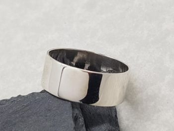 Ring - Sterling Silver - 8mm Wide Plain Band, 1.5mm thick