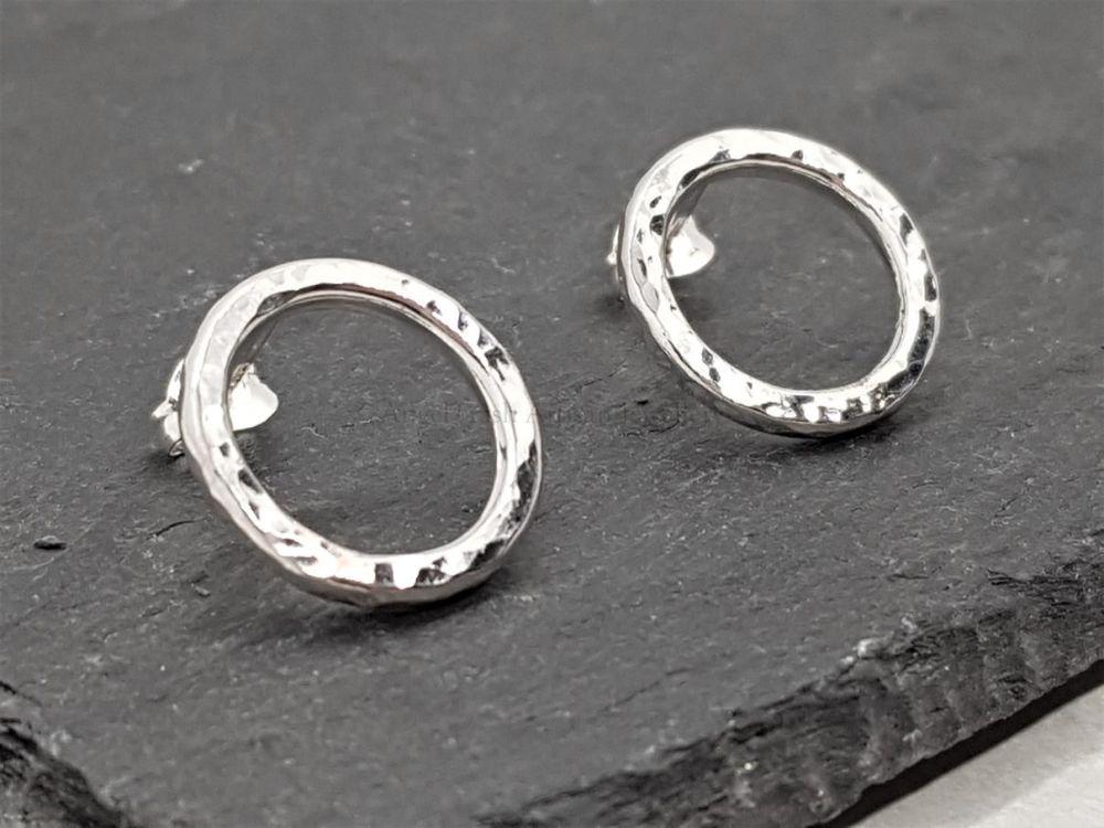 Sterling Silver Earrings - Hammer Texture Circle Stud Earrings