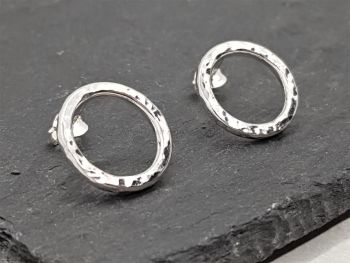 Earrings - Sterling Silver - Hammer Texture Circle Stud Earrings