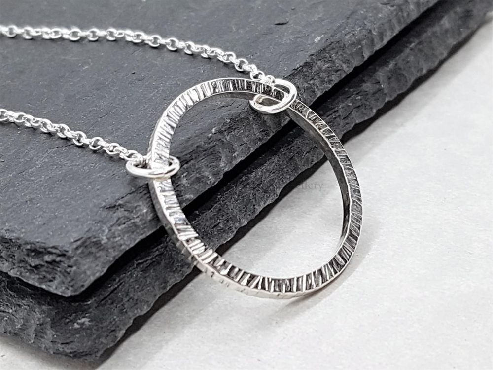 Sterling Silver Necklace - Shimmer Circle Necklace