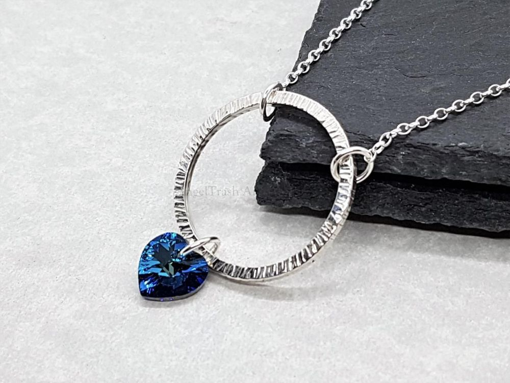 Sterling Silver Necklace - Shimmer Circle Necklace with Swarovski Heart