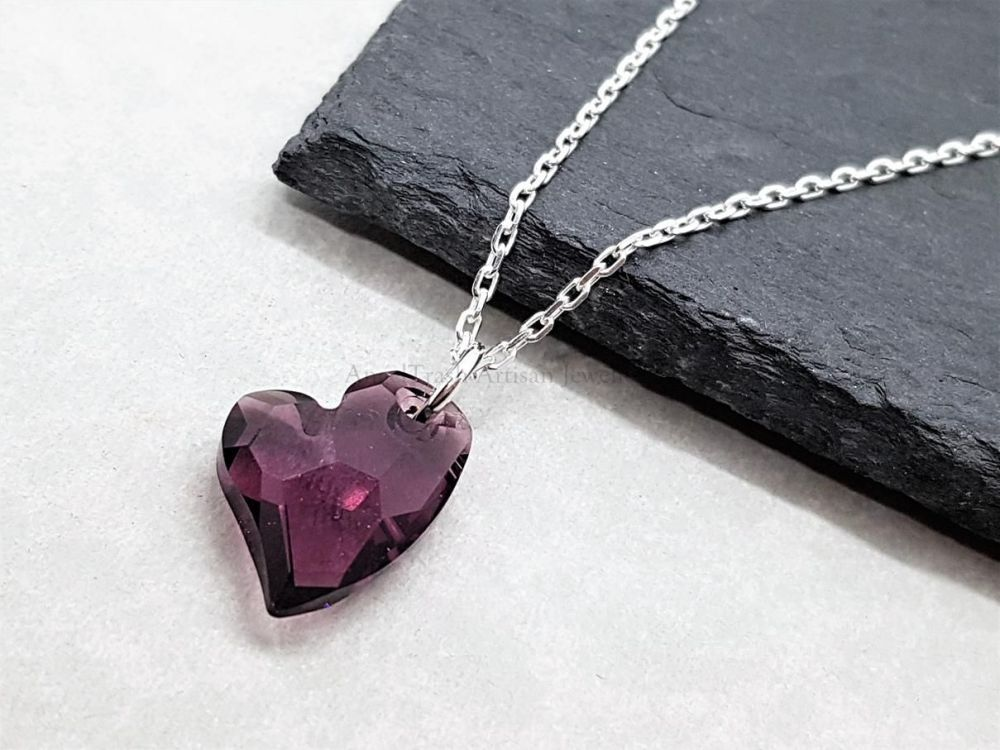 Sterling Silver Necklace - With Whimsy Heart Pendant