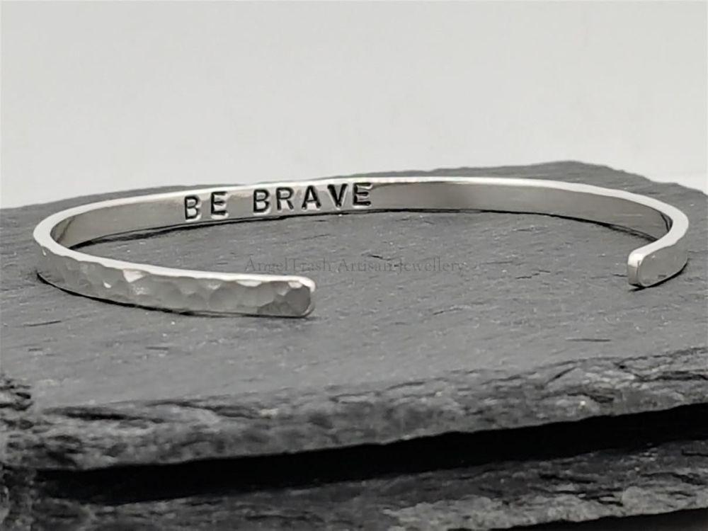 Sterling Silver Cuff Bracelet - Be Brave - Slim Cuff