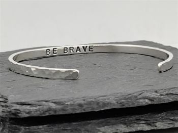 Bracelet - Sterling Silver - Be Brave - Slim Cuff