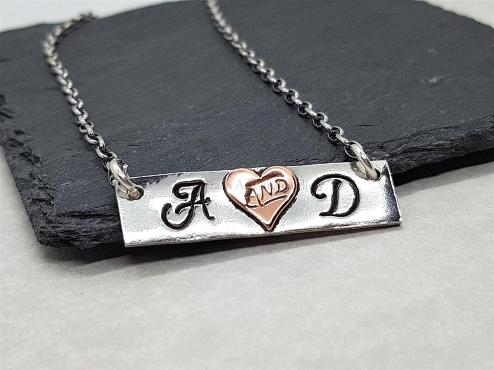 Pewter & Copper Personalised Slim Bar Necklace