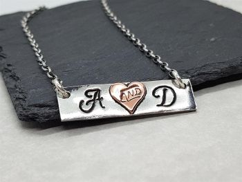 Necklace - Mixed Metal - Pewter & Copper - Personalised Slim Bar