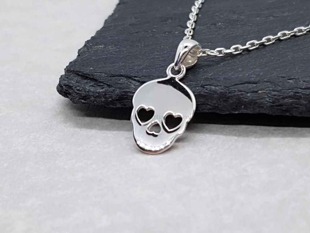 Sterling Silver Necklace - Dainty Skull Necklace