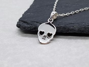 Necklace - Sterling Silver - Dainty Skull Necklace