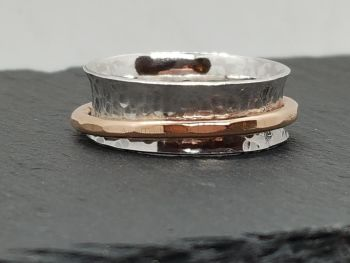Ring - Mixed Metal - Hammered Sterling Silver Ring With Bronze Spinner