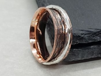 Ring - Mixed Metal - Hammered Copper Ring with Sterling Silver Spinner Ring