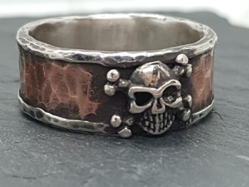 Ring - Mixed Metal - Sterling Silver Core Ring with Rustic Hammered Copper Outer Ring & Silver Skull