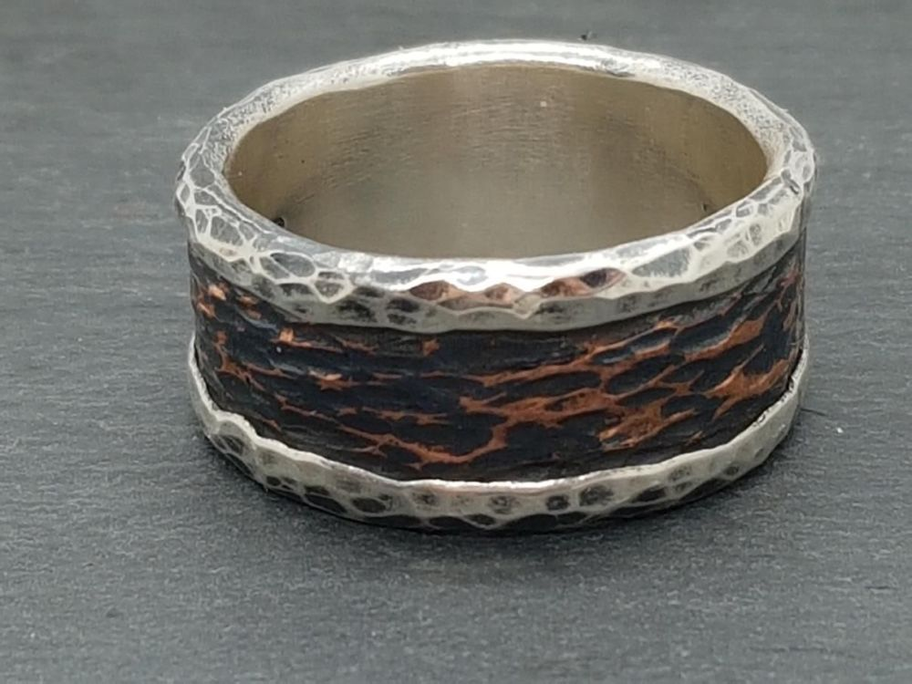 Mixed Metal Ring - Sterling Silver Core Ring with Rustic Bark Effect Copper