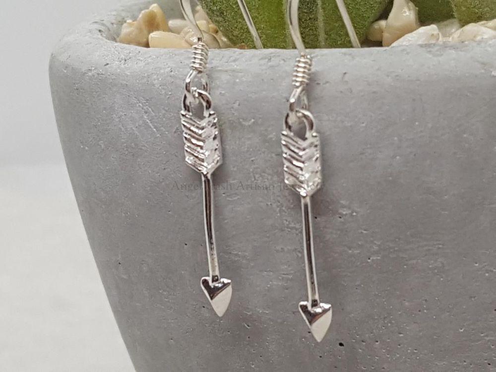 Sterling Silver Earrings - Arrow Drop Earrings