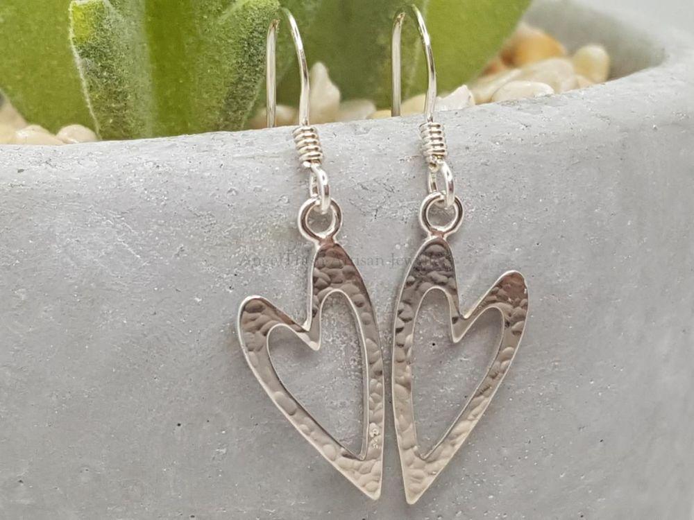 Sterling Silver Earrings - Hammered Heart Outline Earrings