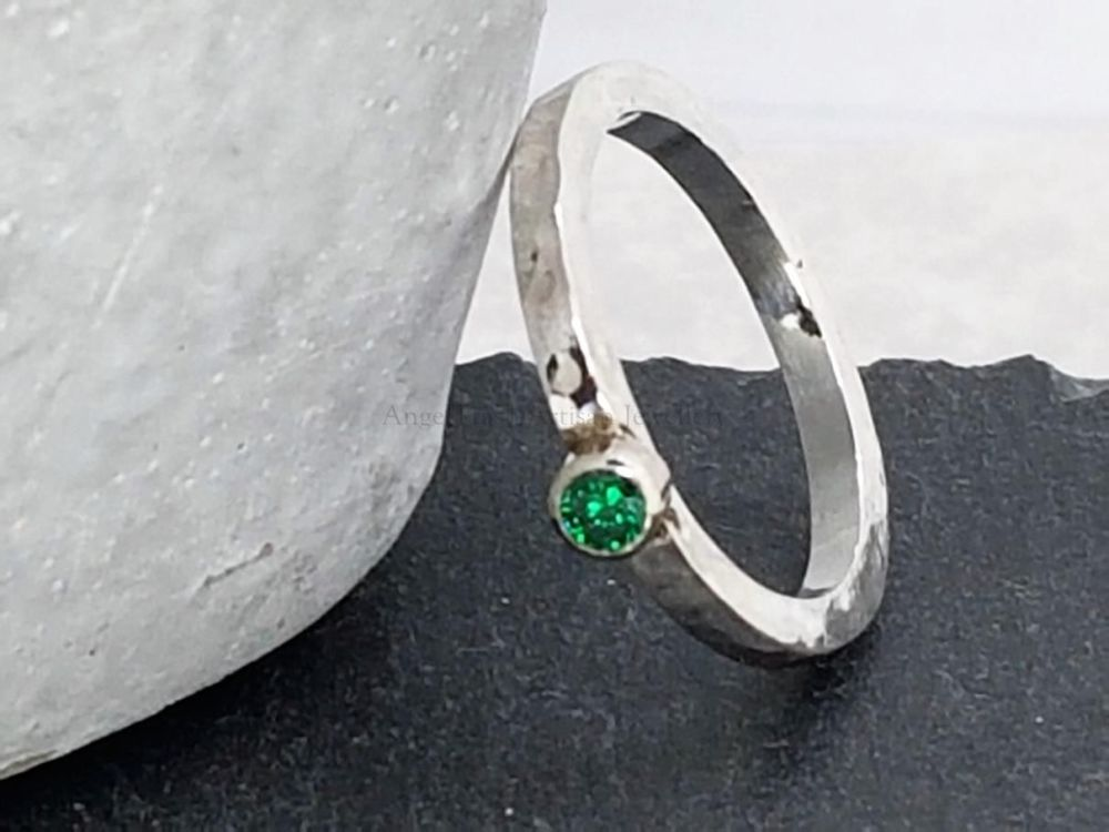 Sterling Silver Ring - Square Stacker Ring with 3mm CZ - You choose which c