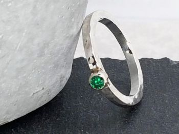 Ring - Sterling Silver - Birthstone Ring with 3mm CZ - You choose which colour