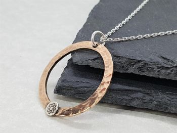 Necklace - Mixed Metal - Copper Washer with Sterling Silver Flower Detail